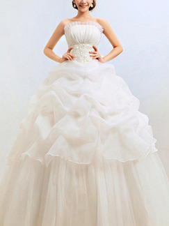 White Strapless Ball Gown Ruffle Dress for Wedding On Sale