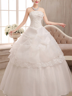 White Strapless Ball Gown Beading Lace Embroidery Dress for Wedding On Sale