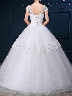 White Illusion Ball Gown Bateau Beading Lace Dress for Wedding On Sale