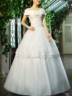 White Off Shoulder Princess Tiered Embroidery Dress for Wedding On Sale