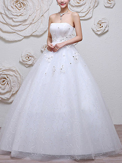 White Strapless Princess Lace Beading Dress for Wedding On Sale