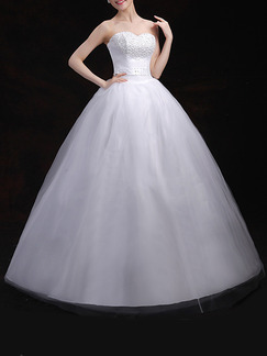 White Sweetheart Princess Beading Dress for Wedding On Sale