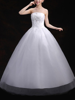 White Strapless Ball Gown Embroidery Beading Dress for Wedding On Sale