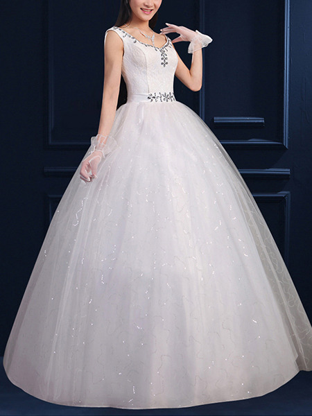 White Bateau Ball Gown Sequin Beading Dress for Wedding On Sale