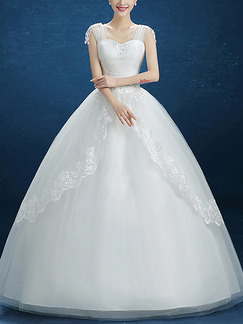 White Illusion Princess Sweetheart Lace Beading Dress for Wedding On Sale