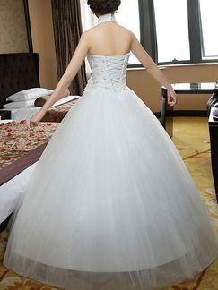 White Halter Princess Sweetheart Crystal Dress for Wedding On Sale