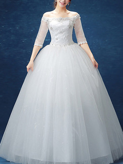 White Off Shoulder Ball Gown Sequin Dress for Wedding On Sale