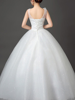 White Illusion Ball Gown Appliquies Bateau Dress for Wedding On Sale