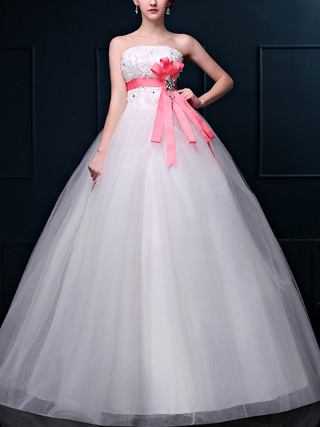 Wedding Dress For   Ph : White strapless ball gown ribbon beading appliques dress