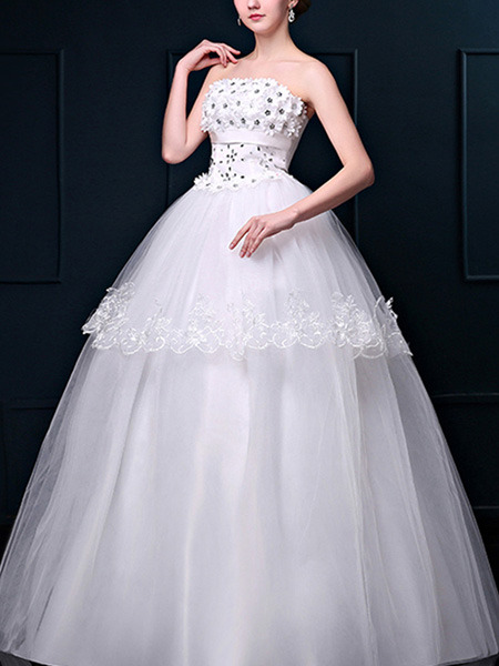White Strapless Ball Gown Beading Lace Dress for Wedding On Sale