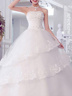 White Sweetheart Ball Gown Tiered Beading Dress for Wedding On Sale