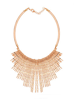 Gold Plated With Chain Gold Chain Bib Dangle  Necklace