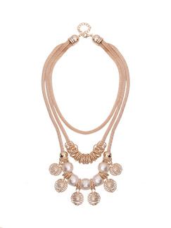 Gold Plated With Chain Gold Chain Triple Bead Pearl Necklace