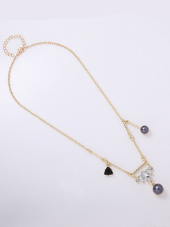 Gold Plated With Chain Gold Chain Bead Pearl Rhinestone Necklace