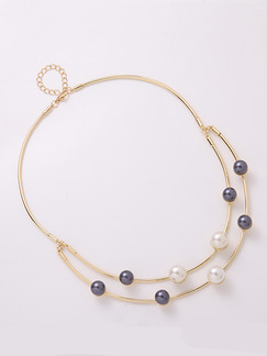 Gold Plated With Chain Gold Chain Bead Pearl Necklace