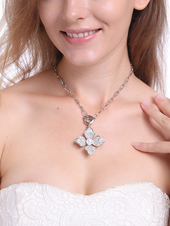 Silver Plated With Chain Silver Chain Flower Bead Pearl Rhinestone Necklace