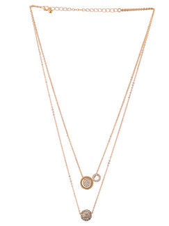 Gold Plated With Chain Gold Chain Rhinestone Necklace