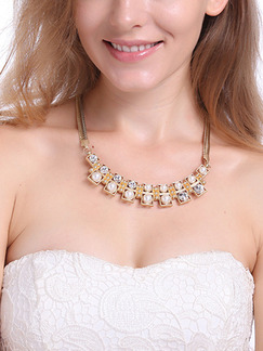Gold Plated With Chain Gold Chain Bead Necklace