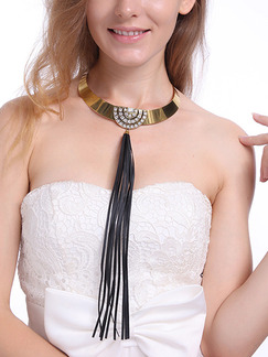 Gold Plated and Leather With Chain Gold Chain Tassel Rhinestone Necklace