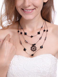 Alloy With Chain Triple Black Crystal Necklace