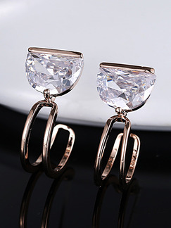 Gold Plated J Hoop Rhinestone Earring