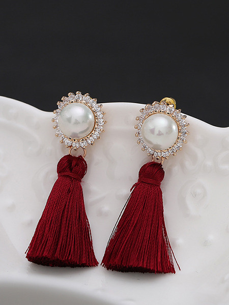 Gold Plated Dangle Bead Pearl Rhinestone Earring