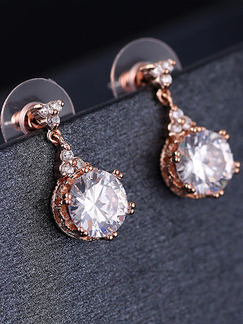 Gold Plated Dangle Rhinestone Earring