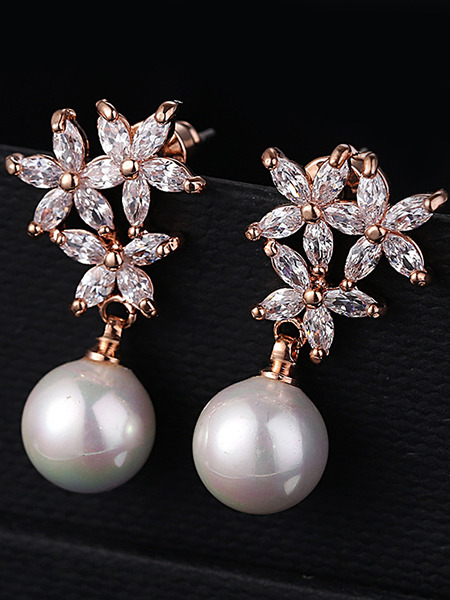 Gold Plated Dangle Bead Rhinestone and Pearl Earring