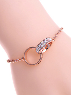 Gold Plated Link Ring Rhinestone Bracelet