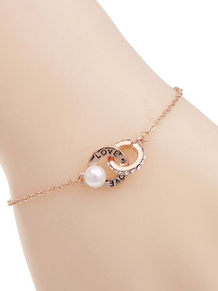 Gold Plated Link Bead and Ring Pearl Rhinestone Bracelet
