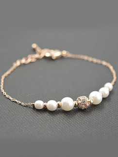 Gold Plated Link Bead Rhinestone and Pearl Bracelet