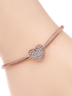 Gold Plated Heart Rhinestone Bracelet