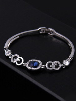 Silver Plated Link Crystal and Rhinestone Bracelet