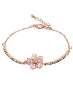 Gold Plated Flower Rhinestone Bracelet