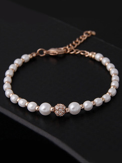 Gold Plated Rosary Bead Pearl and Rhinestone Bracelet