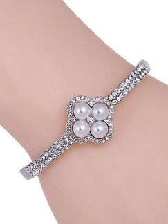 Silver Plated Bead Rhinestone and Pearl Bangle