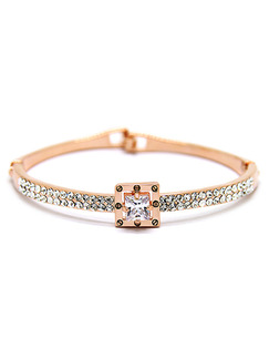 Gold Plated Square Rhinestone Bangle