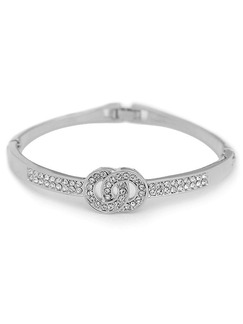 Silver Plated  Rhinestone Bangle