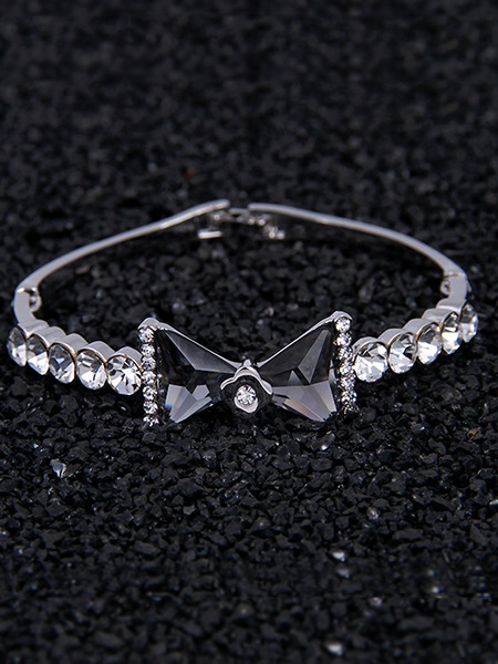 Silver Plated Butterfly Rhinestone Gemstone Bangle