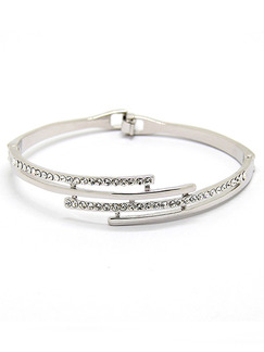 Silver Plated Cuff Rhinestone Bangle
