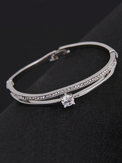 Silver Plated One Row Rhinestone Bangle
