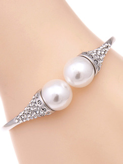 Silver Plated Cuff Bead Pearl Rhinestone Bangle
