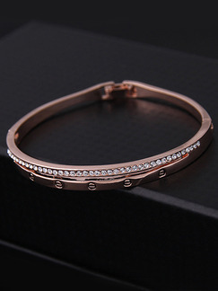 Gold Plated One Row Rhinestone Bangle