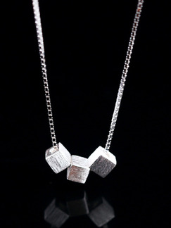 925 Silver With Chain Silver Chain Cube Necklace
