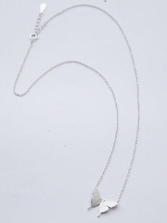 925 Silver With Chain Silver Chain Butterfly Necklace