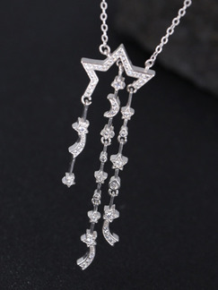 925 Silver With Chain Silver Chain Star Moon Dangle Rhinestone Pendant