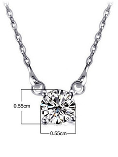 925 Silver With Chain Silver Chain Single Stone Rhinestone Pendant