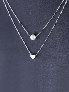 925 Silver With Chain Silver Chain Heart Bead Pearl Pendant