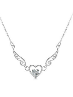 925 Silver  Silver Chain With Chain Heart Single Stone Rhinestone Necklace