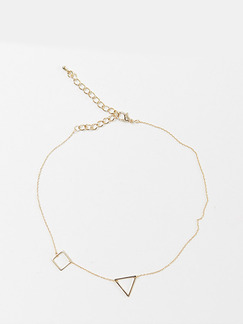 925 Silver With Chain Gold Chain Triangle Square Necklace